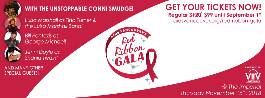 Banner ad for AIDS Vancouver's Red Ribbon Gala event in November 2018