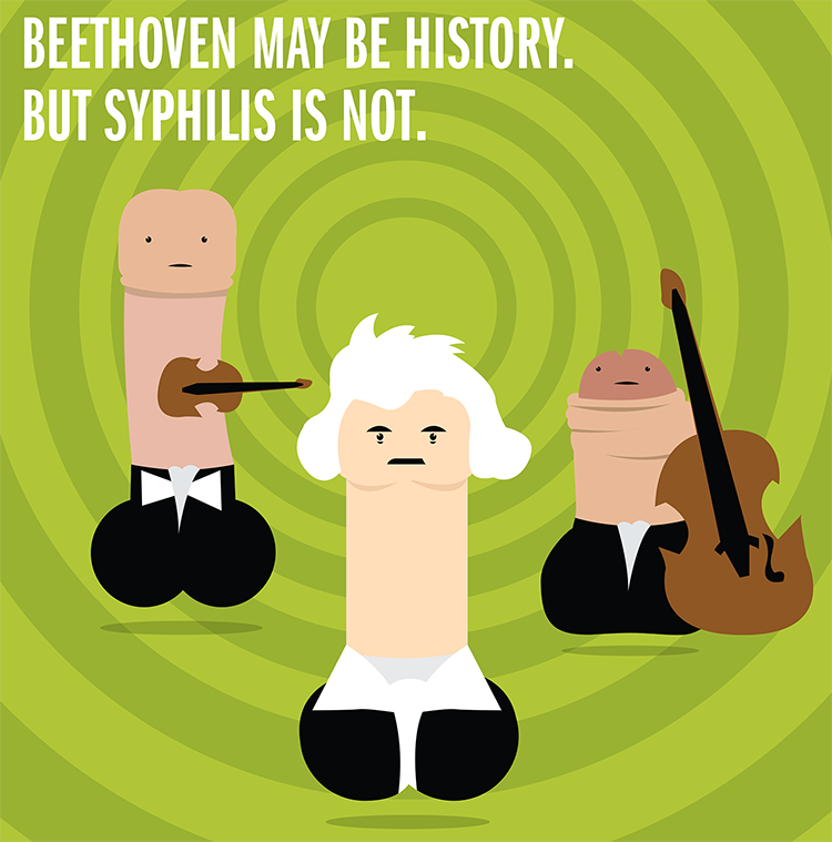 Beethoven penis character for syphilis awareness campaign