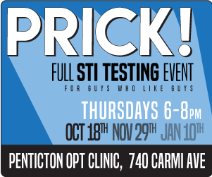 Ad for Penticton PRICK! events in Fall 2018