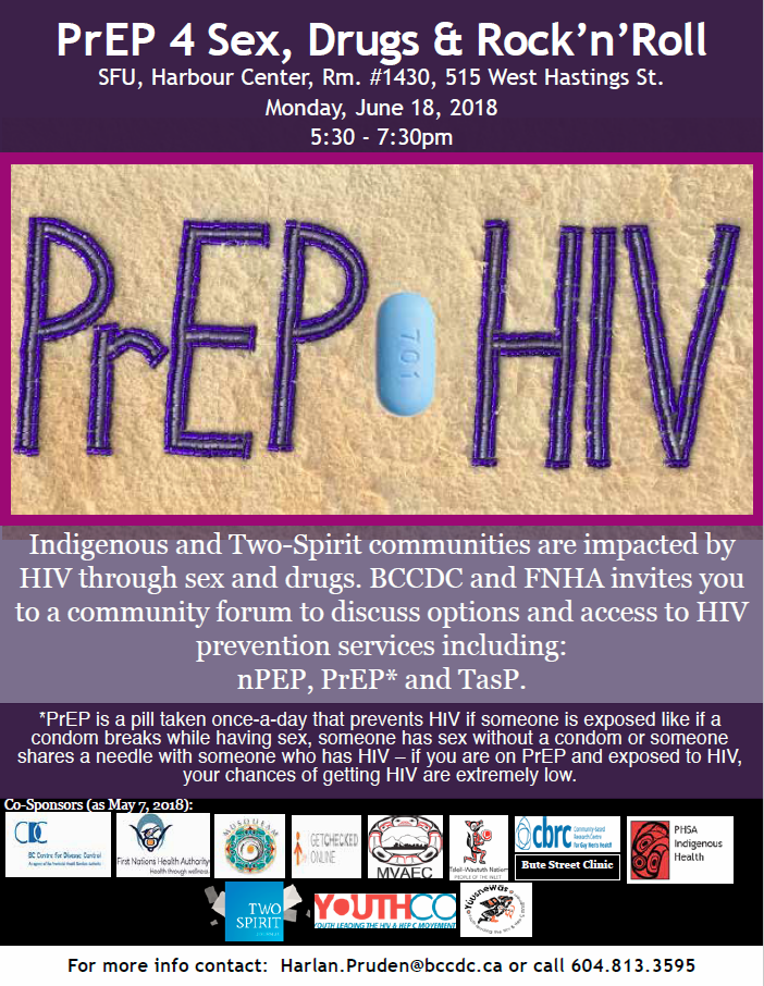Poster promoting the PrEP community forum and its sponsors